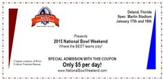 Mark your calendars for #NationalBowlWeekend on January 17th & 18th at Spec Martin Stadium. Ten semi-pro teams from all over the United States will descend on #DeLand for two fun-filled days of #football and compete for the USFA National Championship.   Be sure to visit the website for National Football Events http://www.nationalbowlweekend.com/ and then book your rooms at www.visitwestvolusia.com/bowlweekend.