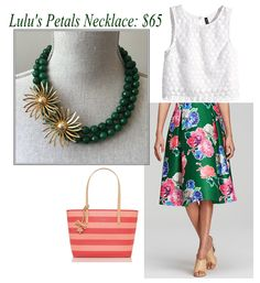 """This green Lulu's Petals necklace pairs perfectly with this Kate Spade """"Lorella"""" skirt, handbag, and top from H & M #katespade #statementnecklace #inspiration"""