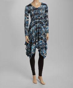 Look at this #zulilyfind! Black & Blue Abstract Sidetail Tunic #zulilyfinds