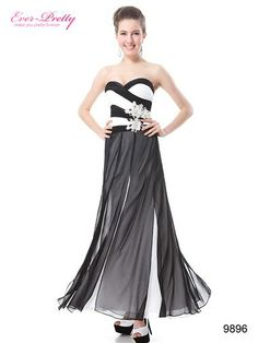 Black And White Strapless Ruched Bust Paneled Evening Dress - Ever-Pretty US #prom2014