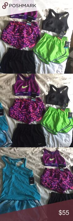 Nike Workout Clothing Lot Of 8 Items. Small Nike Workout Clothing Lot Of 8 Items. Small . All brand new with tags. All Nike but the pants are Tek Gear. Nike Shorts