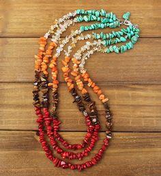 Bohemian boho chip beaded necklace designed by Denise Yezbak Moore