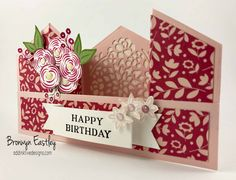 I'm back again with some more sneaky peeks of some upcoming Occasions Catalogue Products. One of the stamp sets that I was given in my Display Stamper Box of Goodies was Perennial Birthday. Fancy Fold Cards, Folded Cards, Unique Cards, Creative Cards, Bridge Card, Stampin Up, Shaped Cards, Card Tutorials, Pop Up Cards