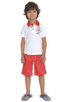Conjunto casual. Bermuda de sarja com lavagem e camisa polo com bordado. Referência: 1302