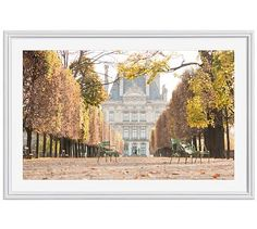 "A Stroll Through The Tuileries In Autumn Framed Print by Rebecca Plotnick, 28x42"", Ridged Distressed Frame, White, Mat"