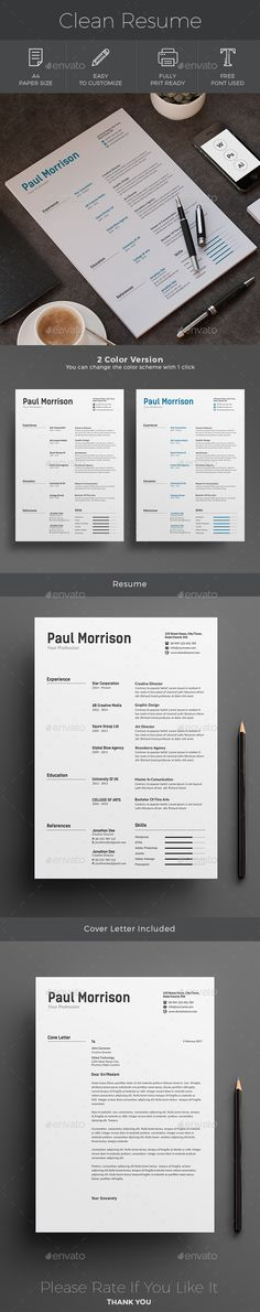 Resume A4 Template PSD, AI Illustrator