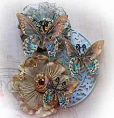 This listing is for 3 Oh So Shabby Chic Butterflies They make a wonderful embellishment for scrapbooking, cardmaking, tags, mini albums, weddings