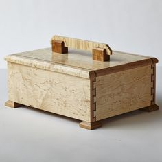Bird's-eye maple and cherry box with double-dovetail joints