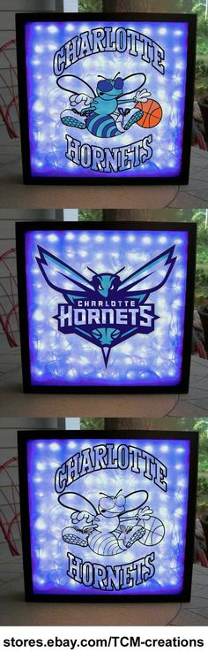 Charlotte Hornets Shadow Boxes with LED lighting. NBA, National Basketball Association.