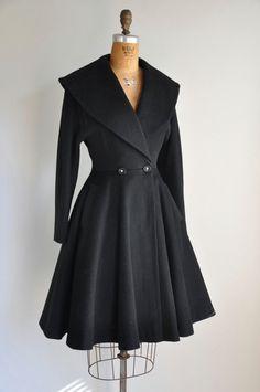 r e s e r v e d...1950s coat / vintage 1950s 50s black princess coat / Winter's Day. via Etsy.