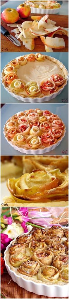 How To Make Apple pie with roses  Ingredients   for the dough:  125g soft butter  70 Powdered sugar  1 egg  1 vanilla  1 tsp grated or...