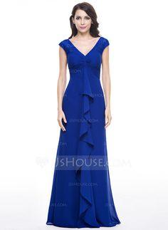 Empire V-neck Floor-Length Chiffon Evening Dress With Lace Cascading Ruffles (017056138)