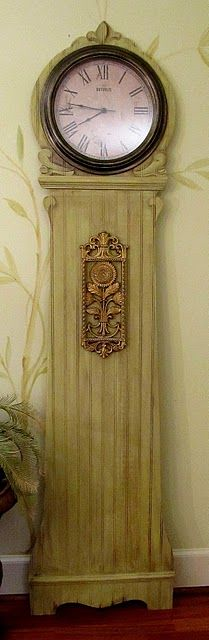 "~ I just love this Mock grandfather clock made from a piece of 3/8"" exterior bead board.  Clock itself - Purchased at Wal-Mart! ~ For the short wall in the entry way."