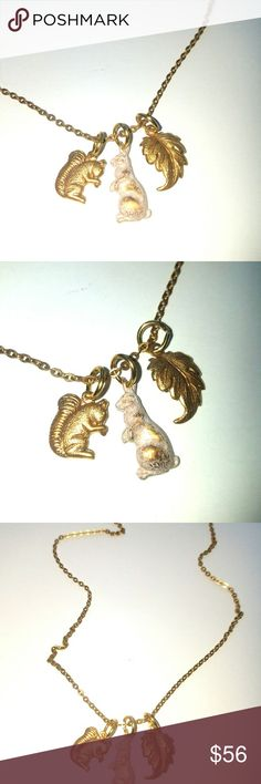 """Woodland creatures necklace Vintage style woodland creatures necklace Materials: brass 3 pcs Made: made in the USA Measurements: total length 18"""" Jewelry Necklaces"""