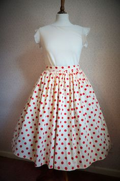 VINTAGE 80s 50'S Red spotty, Spot SWING SKIRT ROCKABILLY PIN UP, 33