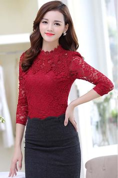 Women's #red long sleeve #TShirt floral lace hollow cut design, stand lace collar, Pull over.