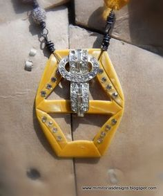 Art Deco vintage buckle and vintage rhinestone elements created the focal of this treasure style piece.