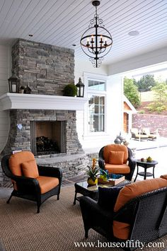 Isabella & Max Rooms: Street of Dreams Portland Style - House 6 - gorgeous outdoor fireplace Outdoor Rooms, Outdoor Living, Outdoor Fireplace Designs, Outdoor Fireplaces, Outside Living, Dream Rooms, My Dream Home, Decoration, Living Spaces
