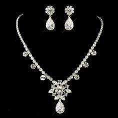 Glamorous CZ Silver Plated Necklace and Earring Set - Affordable Elegance Bridal -