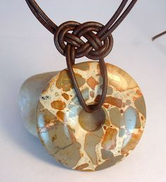 Safari Jasper Donut Gemstone Knotted Leather and Argentium Sterling Silver Clasp Necklace - product image