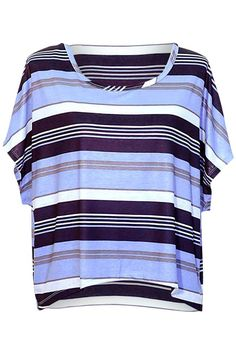 Striped Multicolor High-Low Blouse Top