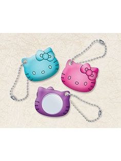 Great for the kids and the moms these 2'' Hello Kitty Rainbow Mini Mirrors are just the right size to carry with you all day. Each mirror has a little chain loop to hang from anywhere.