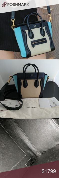 "Authentic Celine Tri-Colored Nano Luggage CONDITION  New With Tags  This item has original tags and shows no visible signs of wear.  DETAILS  Type:  Cross Body Bags  Measurements:  8""L x 8""H x 4""W  Color:  Brand:  C?line  Style/Collection:  Celine Nano Tri Colored Luggage  Style Tags:  ,?C?line Cross Body Bags Celine Bags Crossbody Bags"