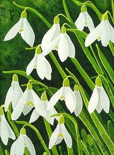 Batik Designs Tulip White Motif Fabric