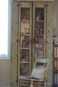 ❤  this wonderful old cupboard with a treasure trove of china . . .