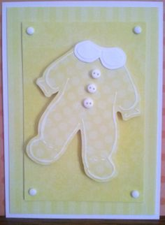 Unisex (Yellow) Pajama Handmade Embossed Baby Shower Invitation/Birth Announcement by WhatACardByWendy on Etsy