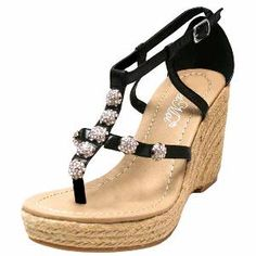 ESPADRILLE STYLE SANDAL WITH RHINESTONE TRIM from Luxury Divas at SHOP.COM