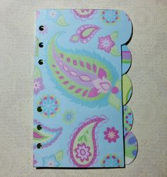 Set of 5 Personal / Compact Filofax or Planner Laminated Dividers in Blue Pastels and Glitter