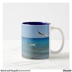 Beach and Seagulls Two-Tone Coffee Mug