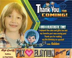Miles from Tomorrowland Thank You Card, birthday invitation, Miles from tomorrowland, tomorrowland party ideas, custom party, Birthday by PixElationDesigns on Etsy