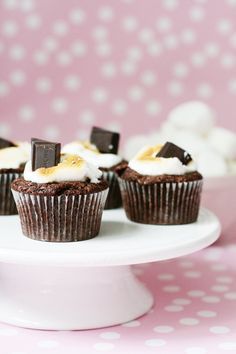 Milky Way Cupcakes with Marshmallow Topping