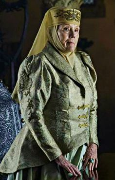 Lady Olenna Tyrell, née Redwyne, is a recurring character in the third, fourth, fifth, and sixth seasons. She is played by Dame Diana Rigg. The elderly matriarch of House Tyrell, Lady Olenna has been a master of court politics and intrigue par excellence throughout her life. She's also known for her wit and sarcasm. As a result, Lady Olenna is popularly nicknamed the Queen of Thorns, in reference to her house's sigil and her cutting barbs. In many ways she is the de facto head of House...