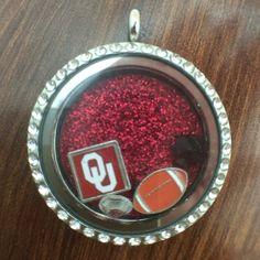 Oklahoma Sooners OU Floating Charm Locket