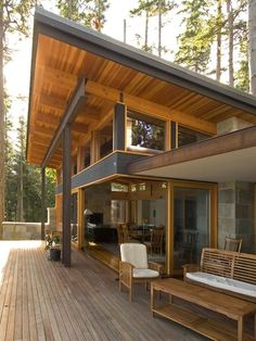 Contemporary Exterior, Mix of Steel & Timber