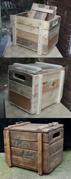 reclaimed wooden chest, made from scratch out of bits of pallet wood, progress pictures.:Rustic reclaimed wooden chest, made from scratch out of bits of pallet wood, progress pictures. Wood Crates, Wooden Pallets, Wood Boxes, Pallet Wood, Rustic Pallet Ideas, Pallet Trunk, Wooden Pallet Crafts, Wooden Toy Boxes, Diy Wooden Crate