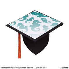 Seahorses aqua/teal pattern custom background graduation cap topper