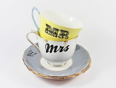 Mr & Mrs vintage teacups