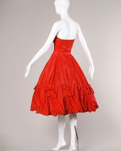 1950s Vintage Red Taffeta Full Sweep Party Dress with Bubble Hem image 3