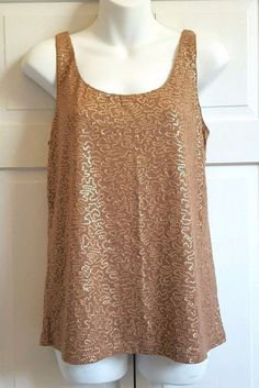 NEW Talbots Tank Top Sequined MEDIUM Brown  Lined Rayon Lyociel MSRP $69.50 NWT  #Talbots #TankCami #Casual