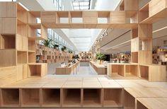 "Penda, crea una estructura pixelada de madera ""pixelated wooden"" para una empresa de interiores en China. #diseño #design #interiordesign #Penda #China #pixelatedwooden #pixel #forniture #woodenstructure"