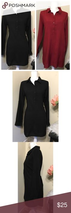 💸Deal of Day💸 Set of Heart Hips Tunic / Dresses Two long tunic / shirt dress style tops, one black one cranberry. Button down to waist, long sleeve can also be worn rolled. Flat lay measurements are 19 1/2 inches across the chest, 19 across the waist, 30 inches shoulder to hem in the front and 34 in the back, 23 1/2 inches shoulder to wrist. (Item LFC193) EUC Like New Heart Hips Dresses Midi