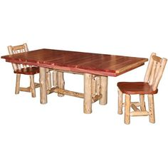 Amish Dining Room Tables | Amish Rustic Cedar Dining Table with Leaves ($1,204)…