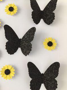 Image of Sunflowers/Butterflies - Small - Classic Sunflower and Black Glitter Butterflies