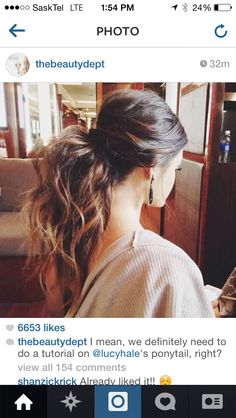 The inspiration for the beauty department's full ponytail I pinned just previously. Lucy Hale.