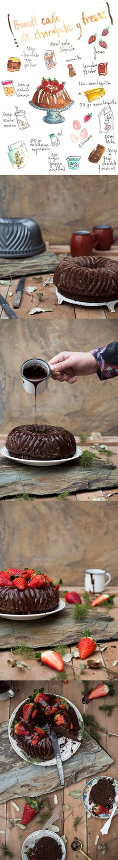 Bundt Cake de chocolate y fresas / http://www.gastroandalusi.com