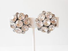 Rhinestone Earrings Vintage Weiss by LittleBitsofGlamour on Etsy, $38.00
